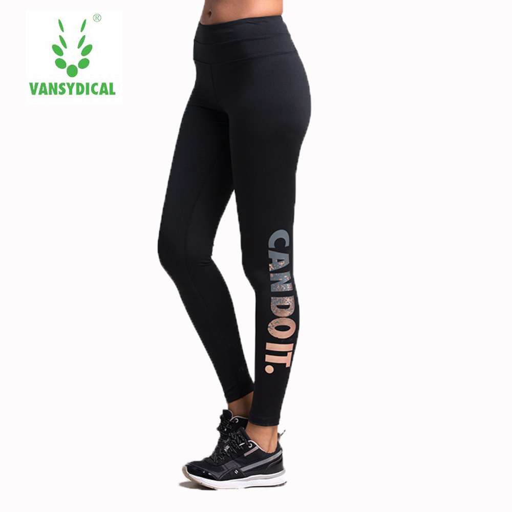 2017 Sale Sports Tights Women Bronzing Letters Stretch Quick-drying Yoga Trousers Running Compression Pants Fitness Gym Female ...