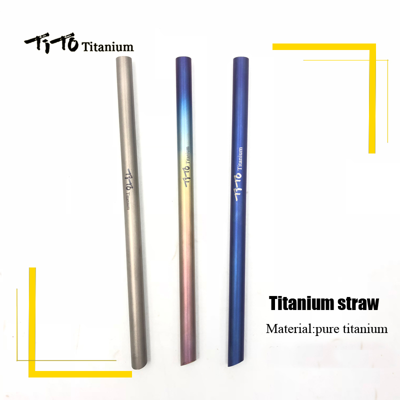with 1 Cleaner Brush Sports & Entertainment titanium Straws Titanium Bend Straw Kitchen Outdoor Camping Drinking Family And Holiday Gift Straws And To Have A Long Life.