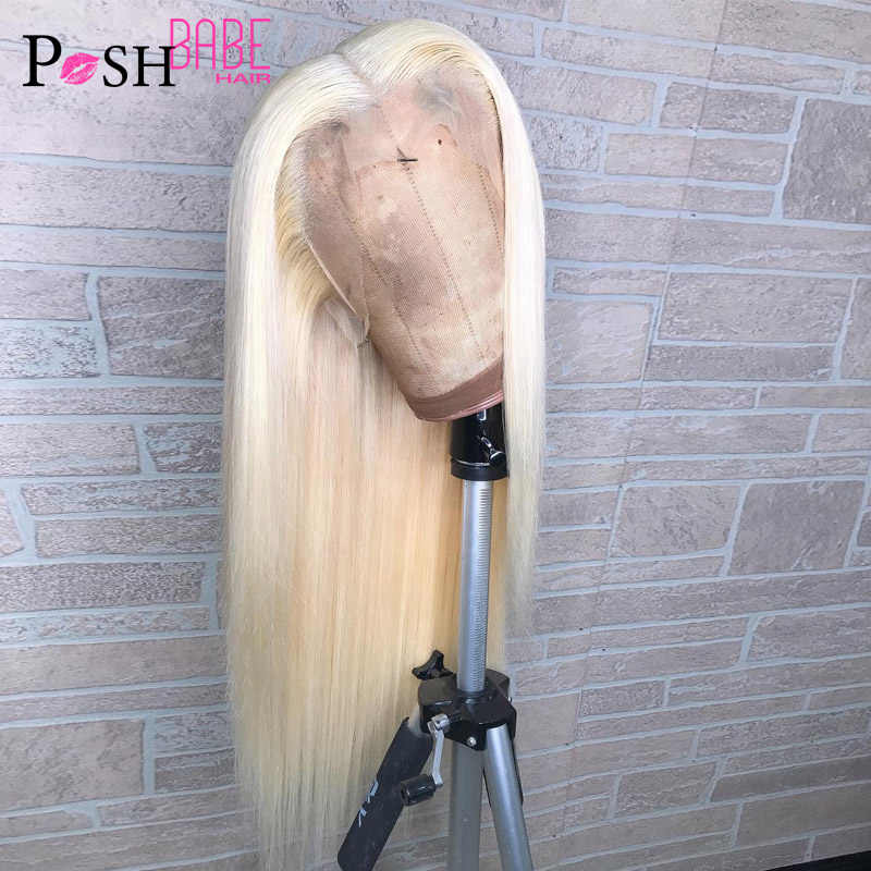 Pelucas de pelo humano de encaje completo 613 Color rubio 8-26 pulgadas de largo brasileño recto Pre desplumado encaje completo sin pegamento peluca con pelo de bebé