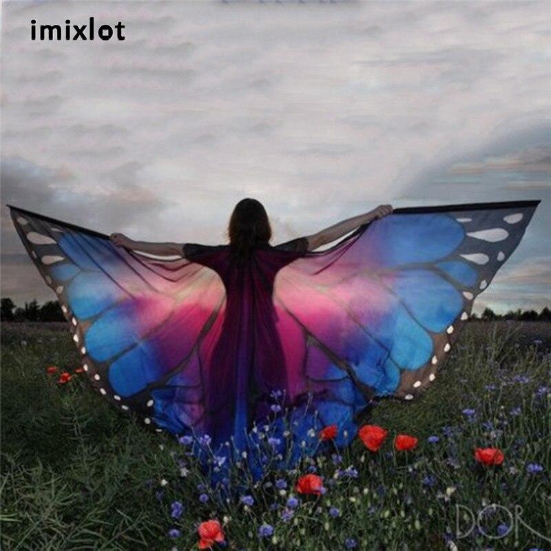 IMIXLOT 7 Couleurs 2017 Nouvelle Marque De Mode Designer Femmes Papillon Aile Grande Cape Écharpe Gradient Impression Plage Cover Up Châle
