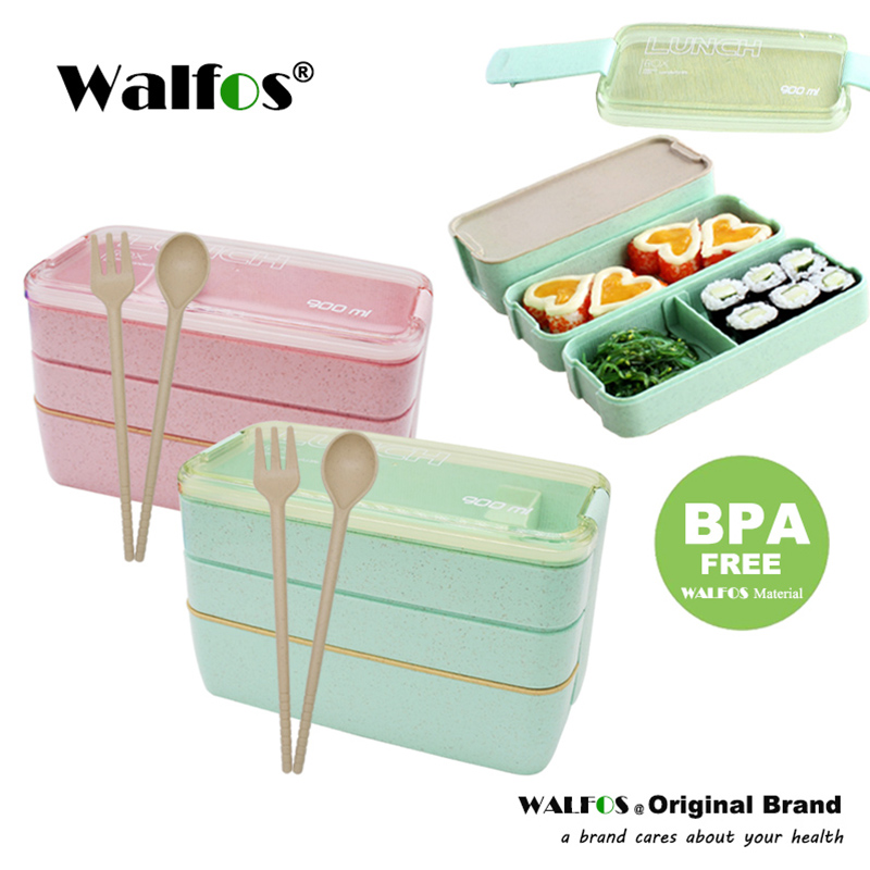 New Arrive 900ml Cute Lunch Dinnerware Box Portable 3 Layer Healthy Food Container Microwave Oven Bento Japanese in Lunch Boxes from Home Garden