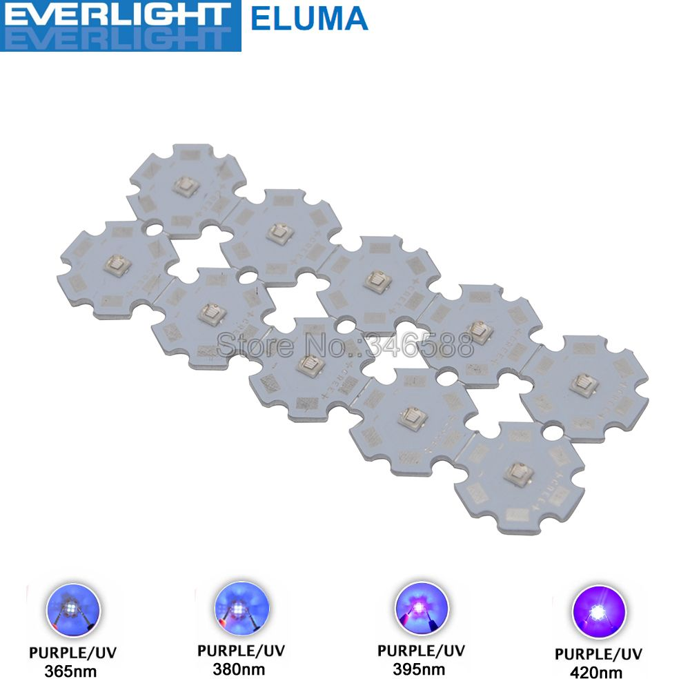 10pcs 3W 365nm 380nm 395nm 420nm UV Ultraviolet 3535 Everlight Eluma High Power LED Light Emitter Diode on 8/12/14/16/20mm PCB 10w 12w ultra violet uv 365nm 380nm 395nm high power led emitting diode on 20mm cooper star pcb