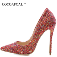 COCOAFOAL Woman Plus Size 33 43 Glitter Shoes Sexy Stiletto Golden Silver Valentine Shoes Bling Blue Pointed Toe Wedding Pumps