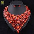 2016 Мода Нигерийские Свадебные Африканские Бусы Ювелирные Наборы Красный Кристалл Ожерелье Серьги Партия Свадебные Комплект Ювелирных Изделий в Дубае