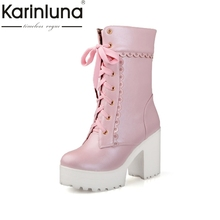 Karinluna/ г. Демисезонные ботильоны на платформе со шнуровкой Женская обувь на высоком квадратном каблуке с цветочной каймой большой размер 33-42