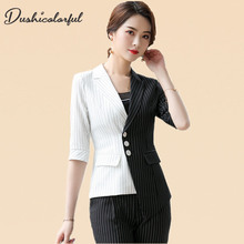 England Style White Black Striped Blazer Women Elegant Office Suit Ladies Work Suits Half Sleeve Stitching jacket
