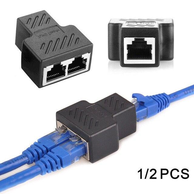 1 a 2 Modi RJ45 Ethernet LAN di Rete Splitter Doppio Adattatore Porte Accoppiatore Connettore Extender Spina di Adattatore del Connettore Adattatore