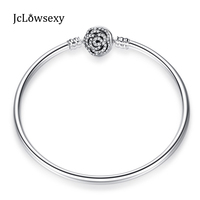 2017 New Authentic 100 925 Sterling Silver Enchanted Rose Clasp Snake Chain With Logo Bracelet Pave
