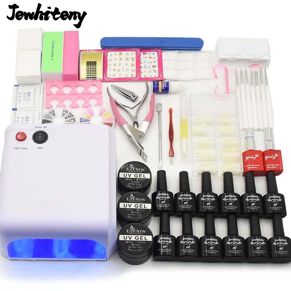 Nail Art tools manicure sets 36W UV LED LAMP nail dryer 12 color soak off gel nail polish base top coat uv build gel nail kits