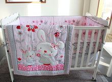 Ups Free Pink Rabbit Cartoon Baby Bedding Set Baby cradle crib cot bedding set cunas crib Quilt Sheet Bumper Bed Skirt Included(China)