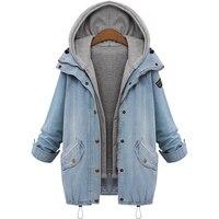 Las mujeres de moda chaqueta de 2017 nueva chaqueta de Mezclilla Floja Mujeres Con Capucha tops Chalecos vaqueros de Dos chaqueta de mezclilla mujeres chaleco + escudo Plus tamaño 6XL