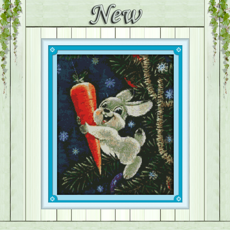The Rabbit And Carrot Animal Decor Painting Counted Printed On Canvas DMC 11CT 14CT Kits Cross Stitch Embroidery Needlework Sets