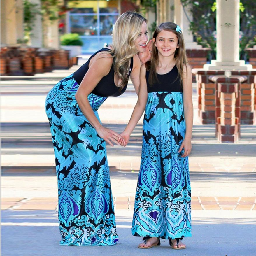 Mommy Me Summer Casual Women Print Sundress Vest Sleeveless Slim Dress Family Clothes June14