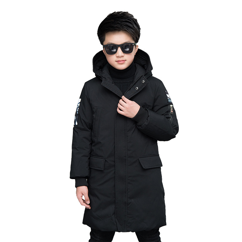 Fashion boys winter jacket kids hooded coats long children warm cotton clothes handsome jackets Patchwork Fur collar down parkas цены онлайн