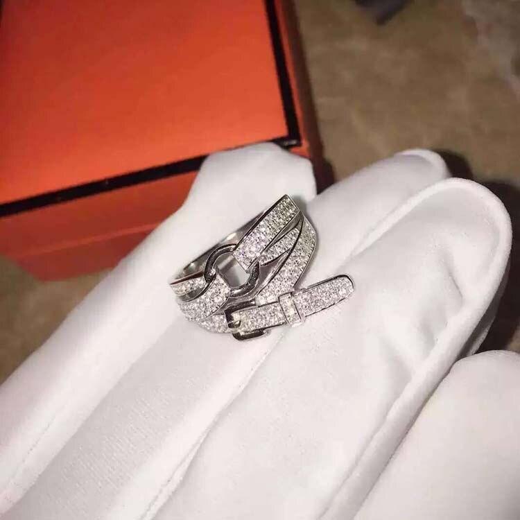 S925 bague en argent sterling micro Zircon ceinture bague Europe et les états-unis mode ceinture bague de mariage pour les femmes