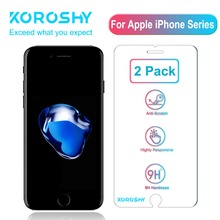 2 Pack KOROSHY Tempered Glass for iPhone 4 4S 5 5S SE 6 6S 8 7 Plus X XR XS Max Screen Protector 2.5D 9H Protective Glass film стоимость
