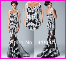 Black And White Off Shoulder Lace Mermaid Long Prom Dress Evening Dresses Gowns E3559