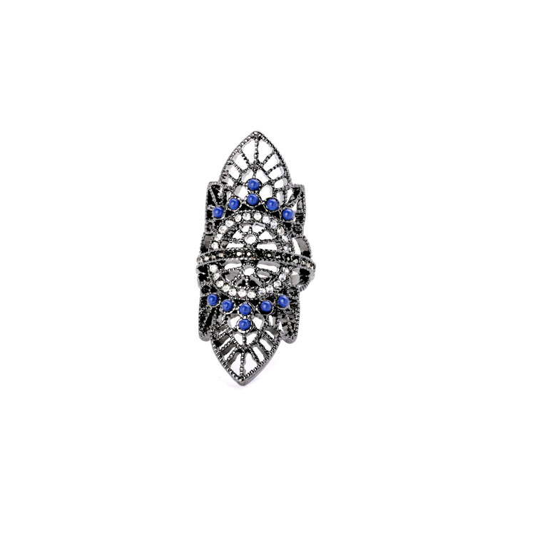 Women Blue Bead Stone Goth Cross Floral Black Silver Metal Filigree Armor Knuckle Long Full Finger Ring Size 6.5 Fashion Jewelry