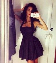 Neue Schwarz Cocktailkleider 2016 Sexy Backless Sommer Kleid Einfache Spaghettibügel Günstige Cocktailkleider Kurze Partei Abendkleid
