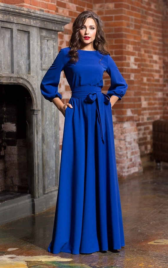 6103dd4b9b0 ... WBCTW Long Woman Party 2019 Autumn Summer 3 4 Sleeves Evening Floor  Length Dress Plus ...