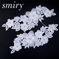 Handmade 3D Lace Appliques Beaded Lace Flowers Embroidered Ivory Lace Patches with Rhinestones Sewing for Wedding Dress