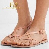 Blush Gladiator Flat Heeled Vintage Buckle Ankle Strap Slingback Sandals Summer Dress Career Street Shoes Woman Size 4 16 FSJ