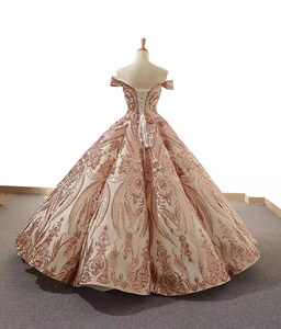 Image 2 - J66661Jancember Ball Gowns Women Quinceanera Dresses Sweetheart  Off The Shoulder Pattern Lace Up vestidos quinceañ рокли за бал