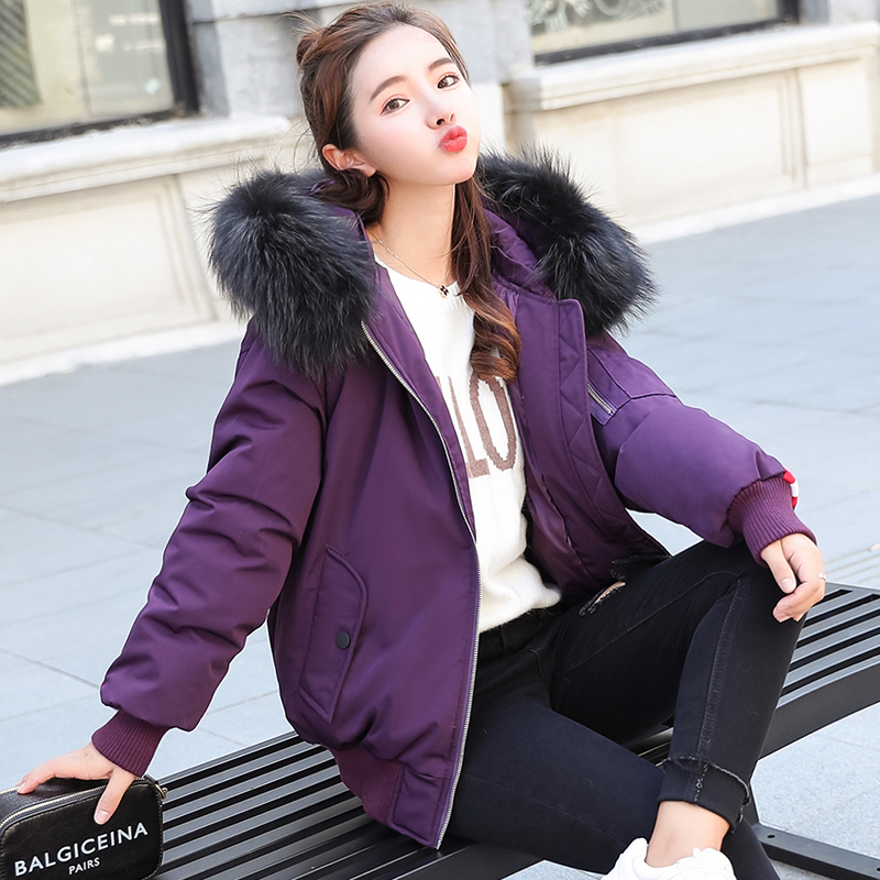 Parka Style Manteau Épais Rembourré Femmes Avec Chaude Fourrure Pain Veste pourpre Duvet Col De Capuche Grande Coton 2018 Noir Coupe vent EwBPFqBgx
