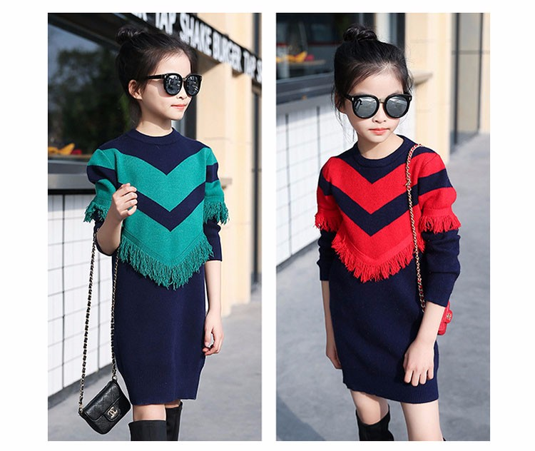 2017 new knitting tassels girls sweater spring autumn winter casual children school clothing preppy style knitted kids sweaters girls dresses 6 7 8 9 10 11 12 13 14 15 16 years old little teenage big girls long sweater dress (16)