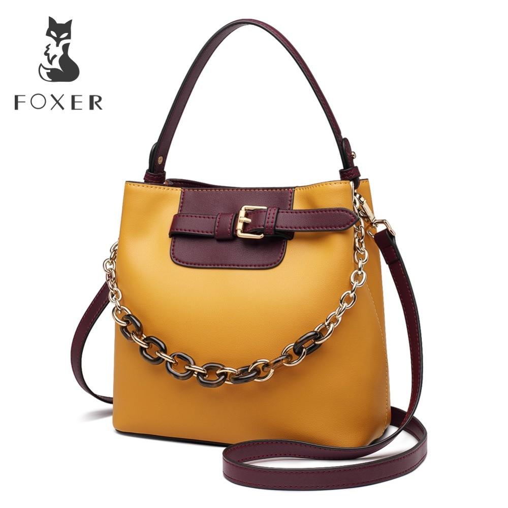 Bagaj ve Çantalar'ten Omuz Çantaları'de FOXER Marka Kadın Moda postacı çantası Kadın Yeni Tasarım Kova Çanta Deri Büyük Kapasiteli Çanta sevgililer Günü hediyesi'da  Grup 1