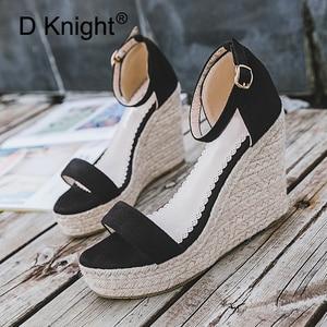 Image 4 - Size 32 44 Wedges Women Sandals Open Toe White Pu Leather High Heel Pumps Hot Black Flock Ankle Strap Wedges Lady Platform Shoes