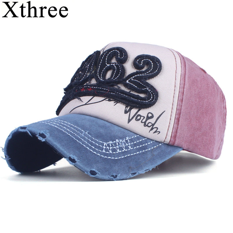 Xthree cotton Washed baseball cap retro fitted cap snapback hat for men bone women gorras casual casquette embroidery letter cap xthree fashion hat caps sunshading men and women s baseball cap rhinestone hat denim and cotton snapback cap