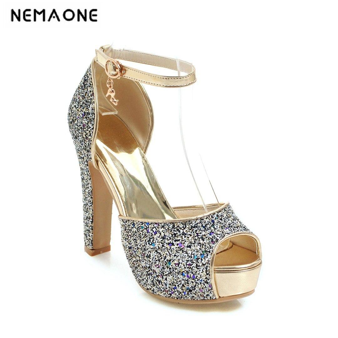 Nemaone 2019 Новый Bling вечерние летние Обувь женщин Сандалии для девочек Сандалии на высоком квадратном каблуке Свадебные туфли с открытым носко... ...