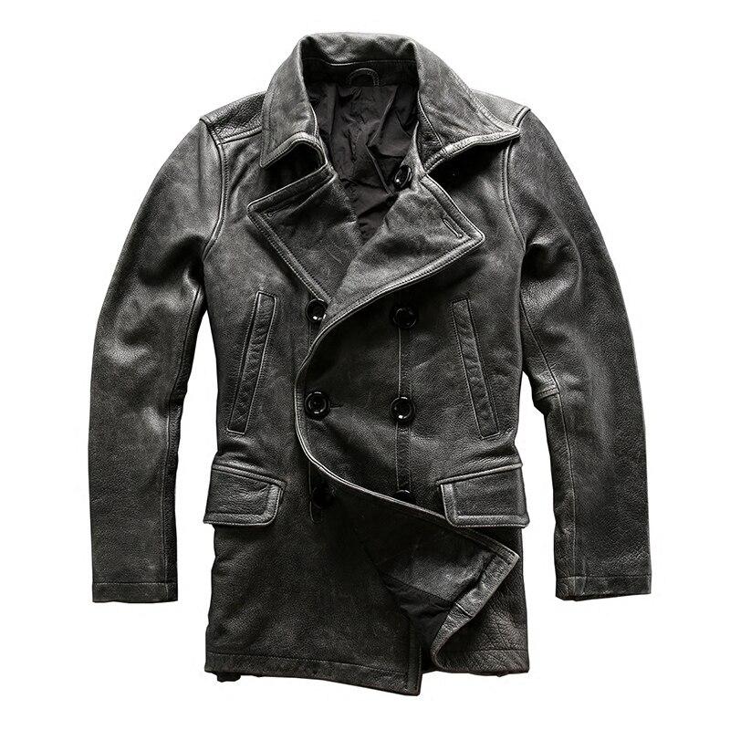 Leggere la Descrizione! Formato asiatico mans inverno giacca in pelle da uomo genuino della mucca classico grigio in pelle di vacchetta cappotto pisello
