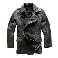 Read Description! Asian size mans winter genuine cow leather jacket men's classic gray cowhide leather pea coat