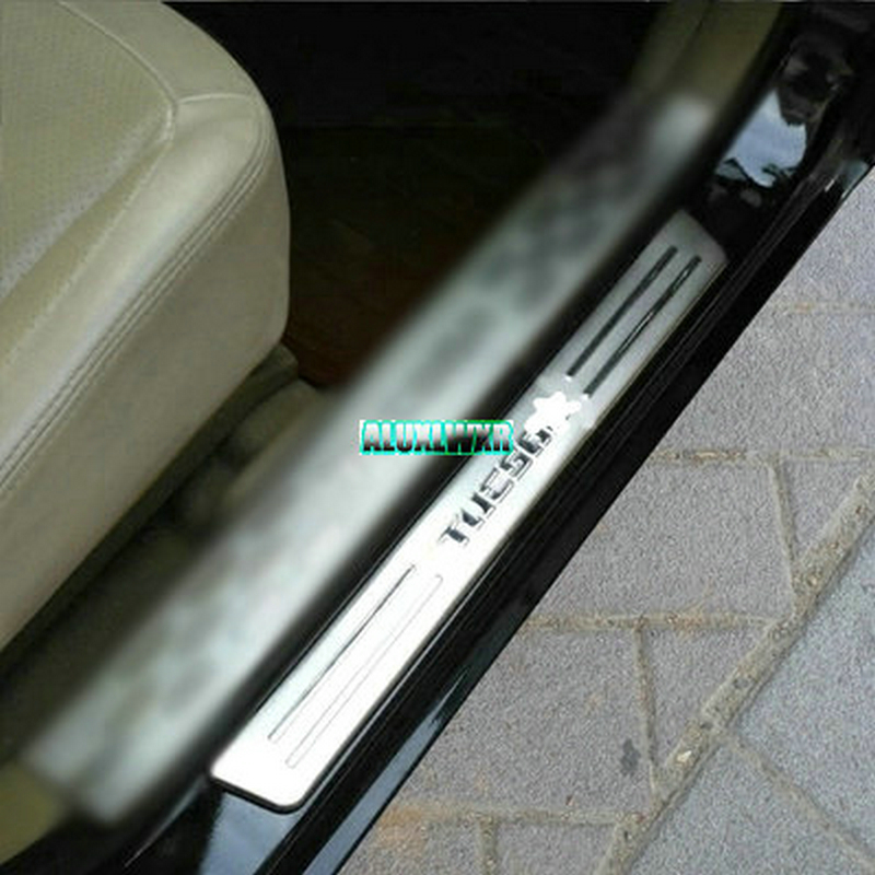Stainless door sill Scuff Plate Cover trim Fit For <font><b>hyundai</b></font> <font><b>tucson</b></font> 2004 <font><b>2005</b></font> 2006 2007 2008 2009 car <font><b>Accessories</b></font> car-styling 4PCS image
