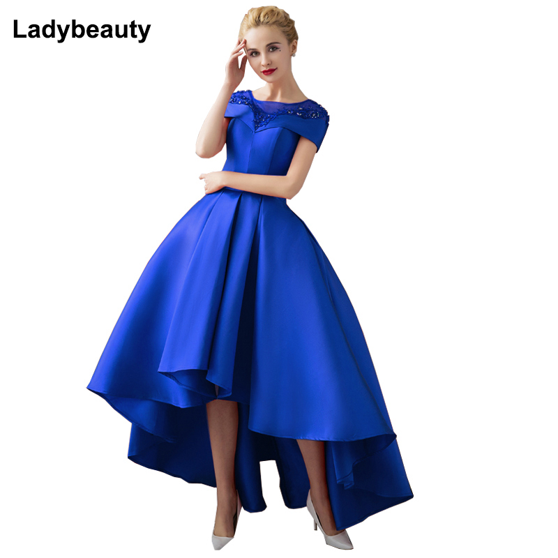 Ladybeauty Short   Prom     Dress   Lace Short Sleeve Embroidery Evening   dress   2018 High Low Mother Wedding Party Gown Maxi   Dress