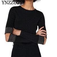YNZZU Rivet Long Sleeve Hollow Chic Sweater Women 2019 New Spring O Neck Black Elastic Slim Women Pullovers Female Jumper YT557