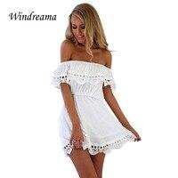Windreama Fashion Women Elegant Vintage Sweet Lace Dress Stylish Sexy Casual Slim Summer Beach Sundress Vestidos
