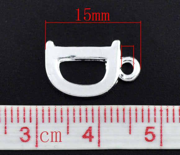 """Kẽm kim loại hợp kim Charm Mặt Dây Letter Mạ Bạc """"D"""" 15 mét (5/8 """") x 9 mét (3/8 """"), 2 cái"""