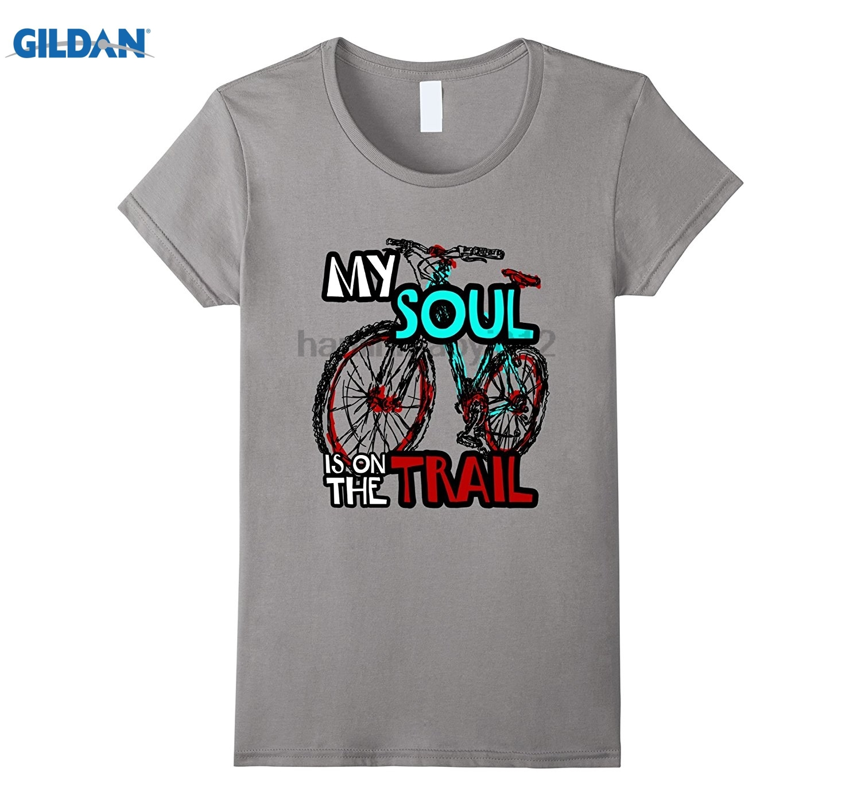 GILDAN My Soul is On the Trail Mountain Biking T-Shirt Womens T-shirt
