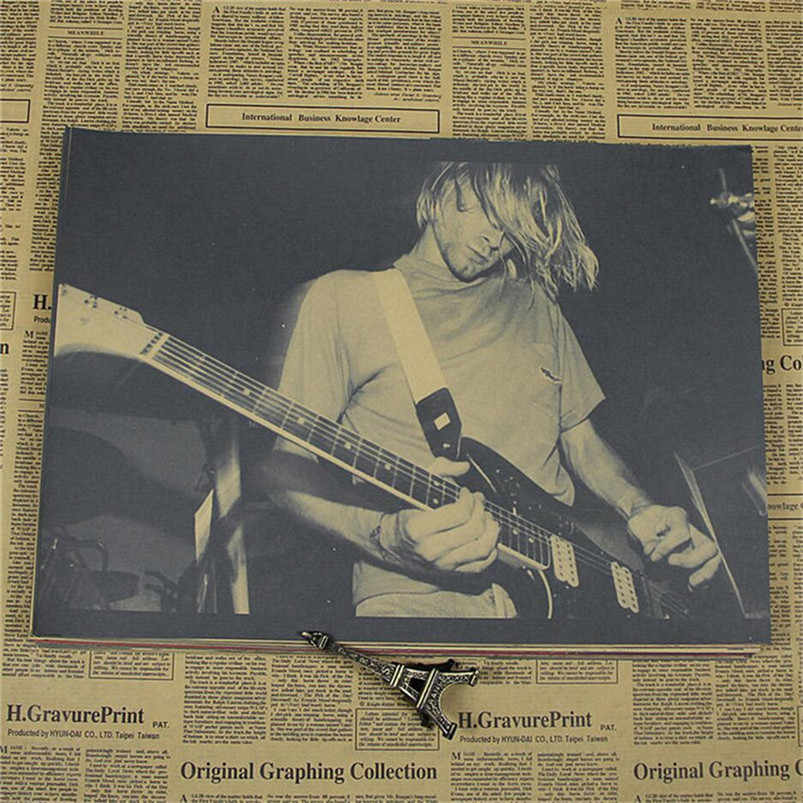 Kurt Cobain Nirvana Frontman Rock Poster Kraft Paper Bar Decorative Painting Wall Sticker 42x30CM