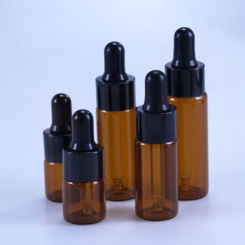 50pcs/lot 5ml 10ml 15ml 20ml Amber Glass Dropper Bottle Jars Vials With Pipette For Cosmetic Perfume Essential Oil Bottles