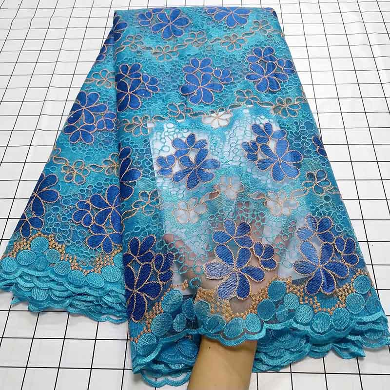 Image 5 - Aqua green African Swiss Voile Lace Fabric High Quality French Tulle Lace Fabric 2019 Nigerian Lace Guipure Embroidery Fabric-in Lace from Home & Garden