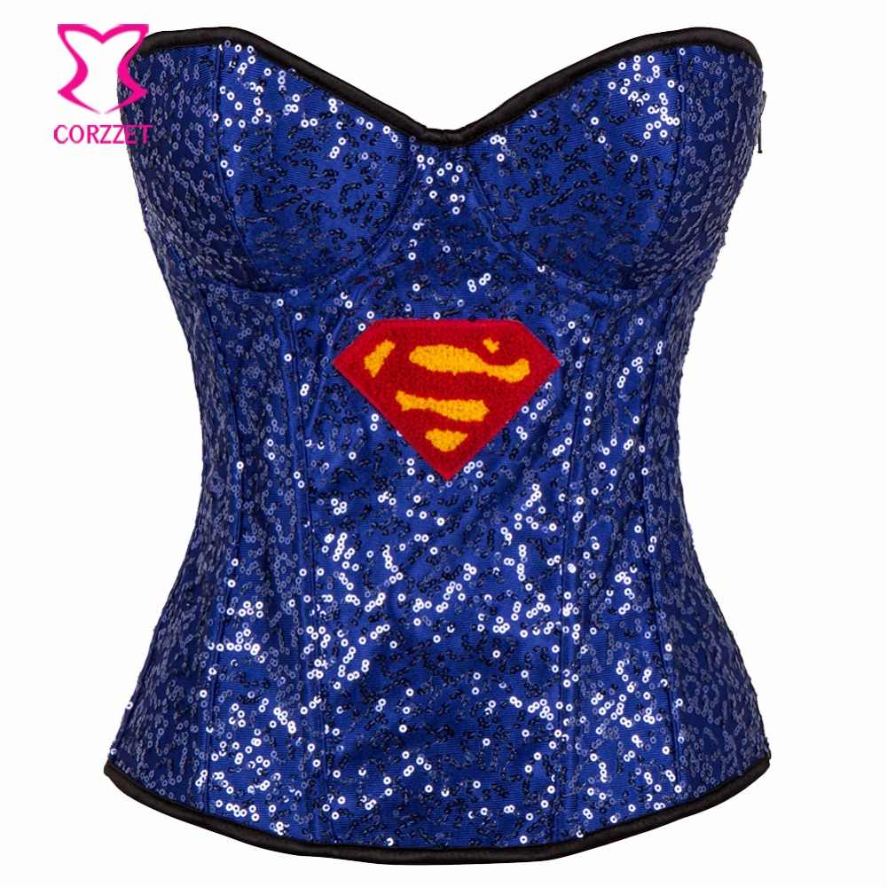 Blue Sequin Superhero Sexy Corset Halloween Costumes Cosplay Corsets And Bustiers Gothic Clothing Corselete Feminino Espartilhos