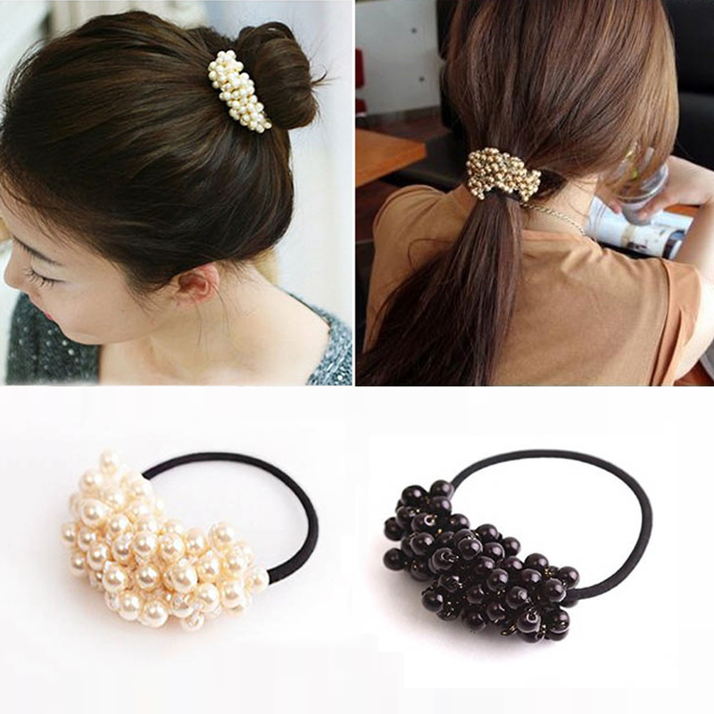 Vintage Pearl Hair Accessories High Elastic Headwear Hair Bands Beads Ponytail Holder Rubber Hair Gum Ring Rope Tie Scrunchies