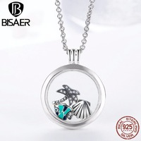 VOROCO New Collection Genuine 925 Sterling Silver Medium Floating Locket Necklaces Pendants Sterling Silver Jewelry PSF001