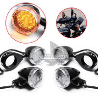 Clear Lens Black Body Front Rear Motorcycle LED Turn Signal Amber Light 39mm Blinker Fork Clamp