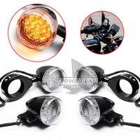 Clear Lens Black Body Front Rear Motorcycle LED Turn Signal Amber Light 39mm Blinker Fork Clamp