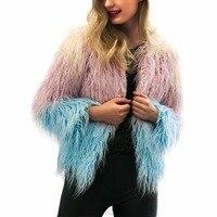 Women Elegant Fur Coats Colorful Faux Fur Coat Multicolor Long Sleeve Collarless Casual Woman Winter Fur Coats